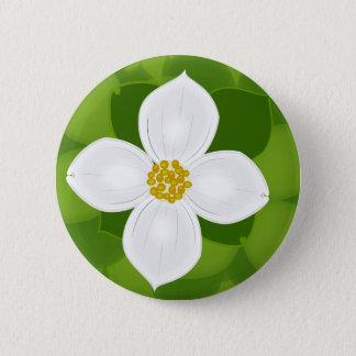 Chapa Redonda De 5 Cm Flor del Dogwood en fondo verde