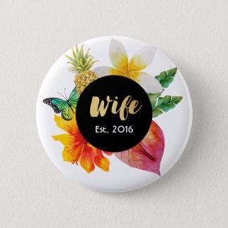 Chapa Redonda De 5 Cm Floral tropical de la esposa de la escritura del