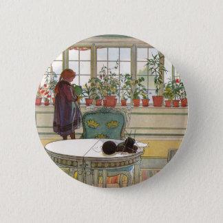 Chapa Redonda De 5 Cm Flores en el Windowsill de Carl Larsson