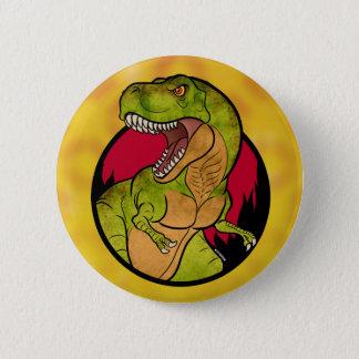 Chapa Redonda De 5 Cm Fondo del rojo de T-Rex