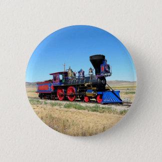 Chapa Redonda De 5 Cm Foto locomotora del tren del motor de vapor