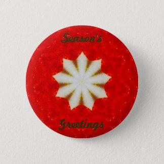 Chapa Redonda De 5 Cm Fractal de la estrella del navidad blanco