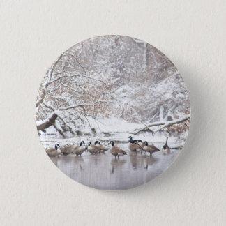 Chapa Redonda De 5 Cm Gansos en nieve