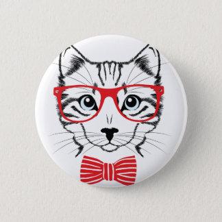 Chapa Redonda De 5 Cm gato con los vidrios