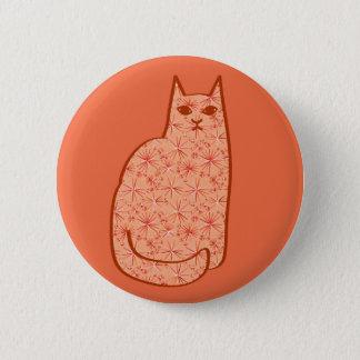 Chapa Redonda De 5 Cm Gato moderno de los mediados de siglo, naranja
