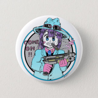 Chapa Redonda De 5 Cm Geek manga gun girl