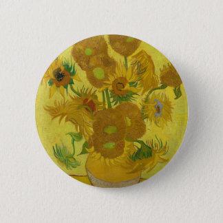 Chapa Redonda De 5 Cm Girasoles de Vincent van Gogh - arte clásico