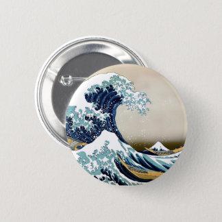 Chapa Redonda De 5 Cm Gran onda restaurada de Kanagawa por Hokusai