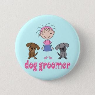Chapa Redonda De 5 Cm Groomer del perro del empleo del mascota del chica