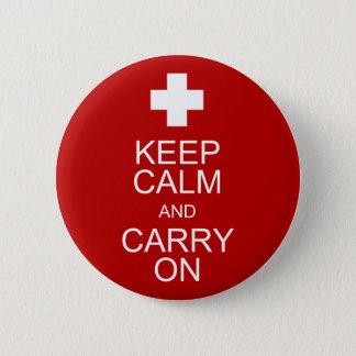 Chapa Redonda De 5 Cm Guarde la calma y continúe - los primeros auxilios