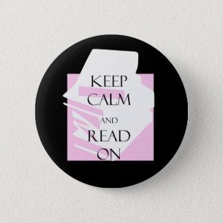 Chapa Redonda De 5 Cm Guarde la calma y siga leyendo