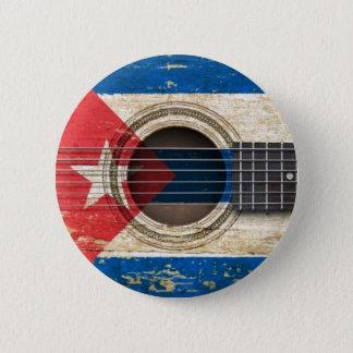 Chapa Redonda De 5 Cm Guitarra acústica vieja con la bandera cubana
