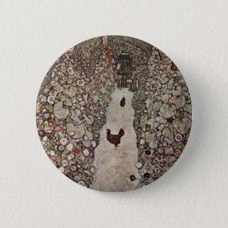 Chapa Redonda De 5 Cm Gustavo Klimt - jardín con los gallos