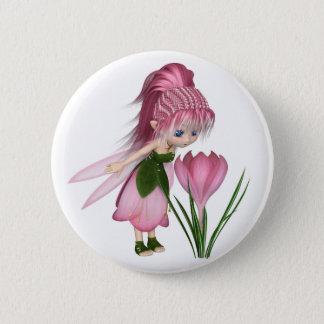 Chapa Redonda De 5 Cm Hada rosada linda del azafrán de Toon, haciendo