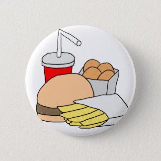 Chapa Redonda De 5 Cm Hamburguesa, fritadas, pepitas de pollo y soda