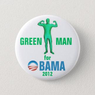 Chapa Redonda De 5 Cm Hombre verde para Obama 2012