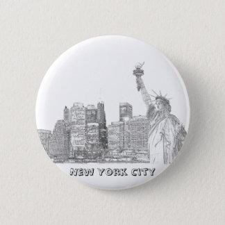 Chapa Redonda De 5 Cm Horizonte de Manhattan y la estatua de la libertad