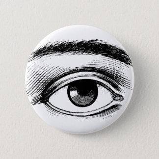 Chapa Redonda De 5 Cm Ilustracion blanco y negro del ojo del vintage de
