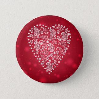 Chapa Redonda De 5 Cm Insignia blanca del corazón del modelo de Paisley
