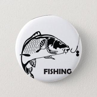 Chapa Redonda De 5 Cm Insignia de la pesca de la carpa