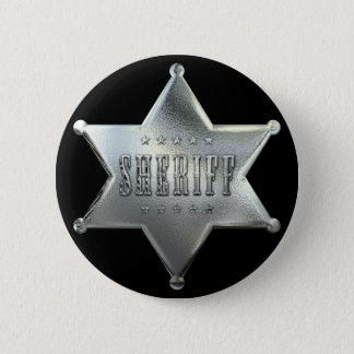 Chapa Redonda De 5 Cm Insignia de plata del sheriff de la estrella