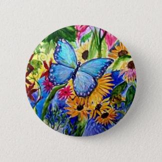 Chapa Redonda De 5 Cm Jardín azul de la mariposa