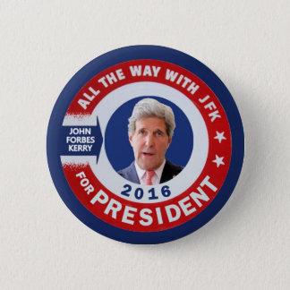 Chapa Redonda De 5 Cm John Kerry para el presidente 2016