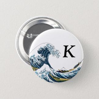 Chapa Redonda De 5 Cm La gran onda de Kanagawa: Monograma