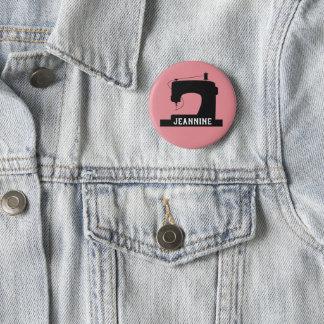 Chapa Redonda De 5 Cm La máquina de coser hace el icono/su texto a mano