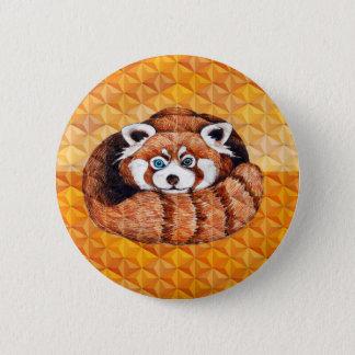 Chapa Redonda De 5 Cm La panda roja refiere cubismo anaranjado