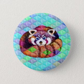 Chapa Redonda De 5 Cm La panda roja refiere cubismo de la turquesa
