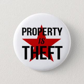 Chapa Redonda De 5 Cm La propiedad es hurto - comunista socialista del
