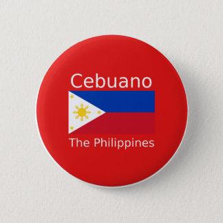 Chapa Redonda De 5 Cm Lengua de Cebuano y bandera de Filipinas