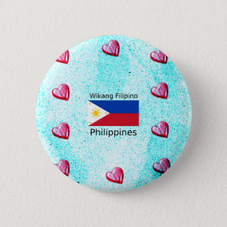 Chapa Redonda De 5 Cm Lengua filipina de Wikang y bandera de Filipinas