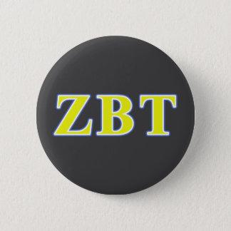 Chapa Redonda De 5 Cm Letras amarillas y azules del Tau beta de la zeta