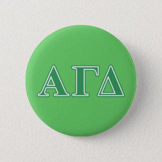 Chapa Redonda De 5 Cm Letras gammas alfa del verde del delta
