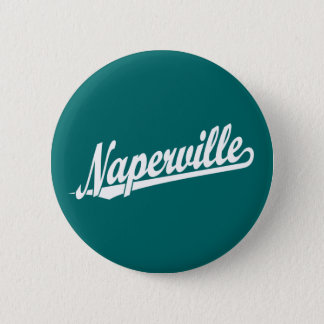 Chapa Redonda De 5 Cm Logotipo de la escritura de Naperville en blanco