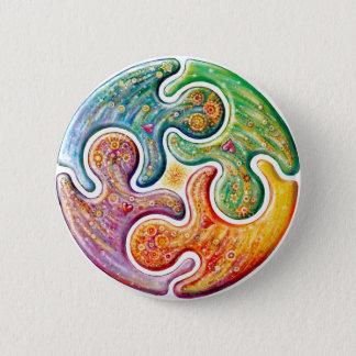 Chapa Redonda De 5 Cm Logotipo de la paz junto
