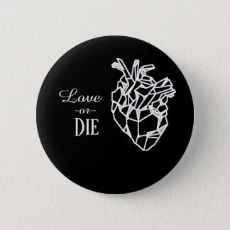 Chapa Redonda De 5 Cm Love or die, black ping