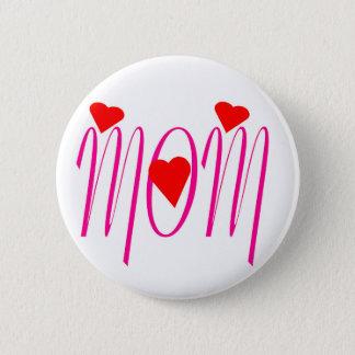 Chapa Redonda De 5 Cm Mamá con los corazones rojos