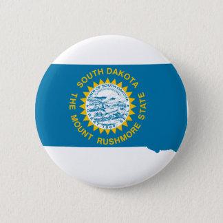 Chapa Redonda De 5 Cm Mapa de la bandera de Dakota del Sur