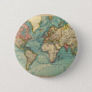 Chapa Redonda De 5 Cm Mapa del mundo del vintage