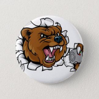 Chapa Redonda De 5 Cm Mascota enojada de Esports del oso