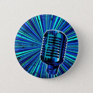 Chapa Redonda De 5 Cm Micrófono retro azul