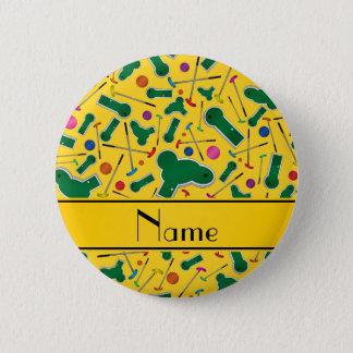 Chapa Redonda De 5 Cm Mini golf amarillo conocido personalizado