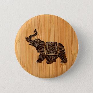 Chapa Redonda De 5 Cm Mirada de bambú y elefante tailandés retro grabado