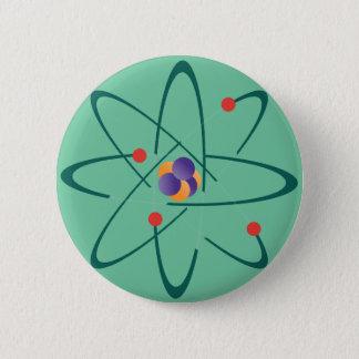 Chapa Redonda De 5 Cm Mirada de InTime. Átomos en antecedentes de verde