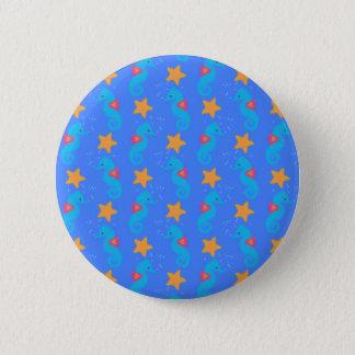 Chapa Redonda De 5 Cm Modelo azul de los Seahorses y de las estrellas de
