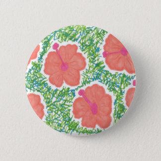 Chapa Redonda De 5 Cm Modelo del arte pop del hibisco