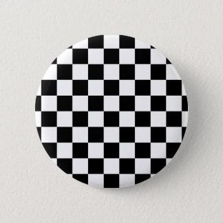 Chapa Redonda De 5 Cm modelo del tablero de ajedrez blanco y negro